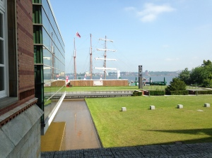 View of Kiel's waterway from Schleswig-Holstein Parliament.